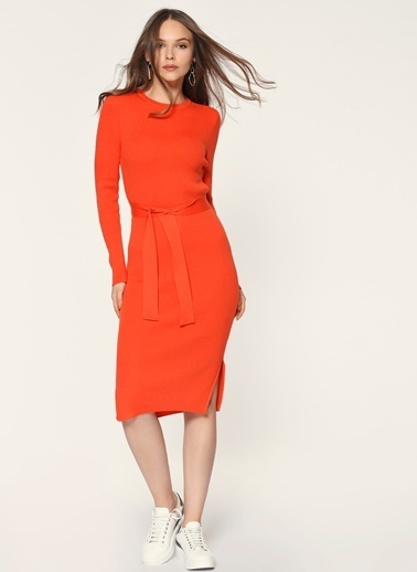 Loves You Kuşaklı Kalem Triko Elbise Mercan